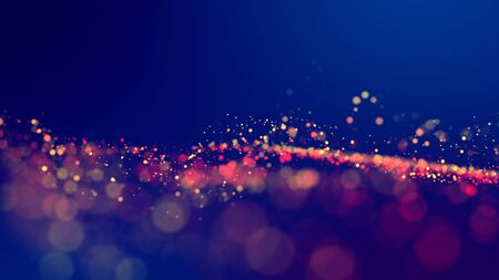 cloud of multicolored particles fly in air slowly or float in liquid like sparkles on dark blue background. Beautiful bokeh light effects with glowing particles. 41