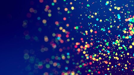 cloud of multicolored particles fly in air slowly or float in liquid like sparkles on dark blue background. Beautiful bokeh light effects with glowing particles for holiday presentations 版權商用圖片