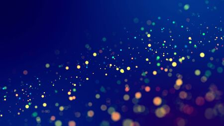cloud of multicolored particles fly in air slowly or float in liquid like sparkles on dark blue background. Beautiful bokeh light effects with glowing particles. 82 版權商用圖片