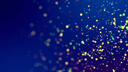 cloud of multicolored particles fly in air slowly or float in liquid like sparkles on dark blue background. Beautiful bokeh light effects with glowing particles. 83