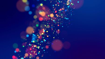 cloud of multicolored particles fly in air slowly or float in liquid like sparkles on dark blue background. Beautiful bokeh light effects with glowing particles. 74 版權商用圖片
