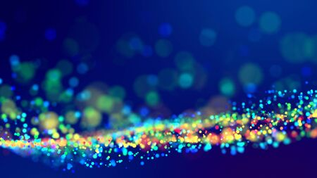 cloud of multicolored particles fly in air slowly or float in liquid like sparkles on dark blue background. Beautiful bokeh light effects with glowing particles. 62 版權商用圖片