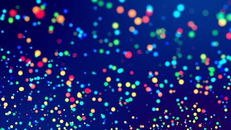cloud of multicolored particles fly in air slowly or float in liquid like sparkles on dark blue background. Beautiful bokeh light effects with glowing particles. 65