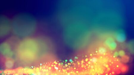 cloud of multicolored particles fly in air slowly or float in liquid like sparkles on dark blue background. Beautiful bokeh light effects with glowing particles. 49