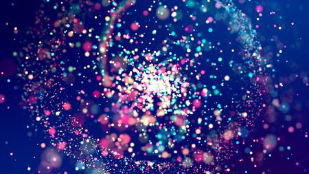 cloud of multicolored particles fly in air slowly or float in liquid like sparkles on dark blue background. Beautiful bokeh light effects with glowing particles for holiday presentations Imagens