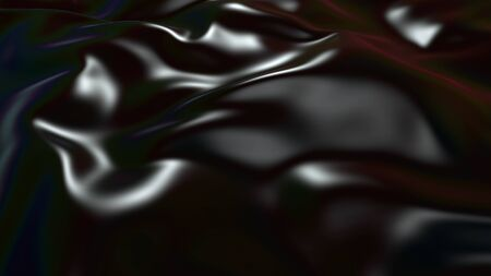 3D render beautiful folds of black silk in full screen, like a beautiful clean fabric background. Simple soft background with smooth folds like waves on a liquid surface. 1