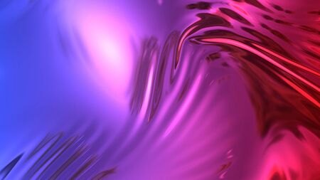 3D render beautiful folds of foil with gradient iridescent blue red color in full screen, as clean fabric abstract background. Simple soft material with crease like waves on liquid surface. 57