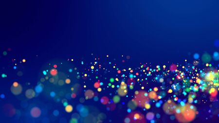 cloud of multicolored particles fly in air slowly or float in liquid like sparkles on dark blue background. Beautiful bokeh light effects with glowing particles. 23