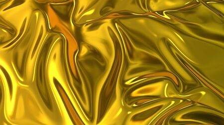 3D render beautiful folds of golden silk in full screen, like a beautiful clean fabric background like gold foil. Simple soft background with smooth folds like waves on a liquid surface.