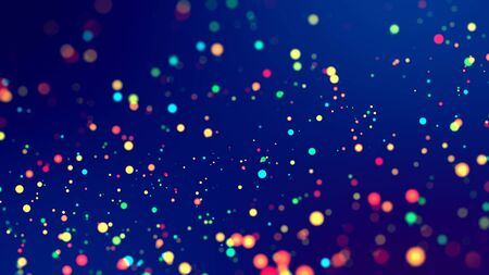 cloud of multicolored particles fly in air slowly or float in liquid like sparkles on dark blue background. Beautiful bokeh light effects with glowing particles. 45