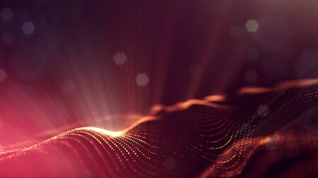 Microworld or sci-fi theme. 3d rendering background of glowing particles that form curved lines and 3d surfaces, grid with depth of field, bokeh. Golden red version 1