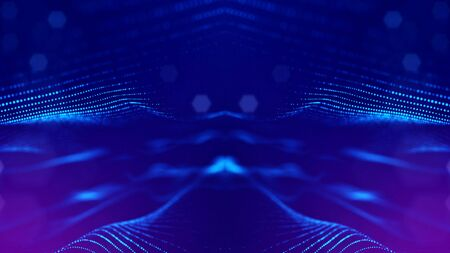 Microworld or sci-fi theme. 3d rendering background of glowing particles that form curved lines and 3d surfaces, grid with depth of field, bokeh. Blue version 1