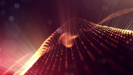 Microworld or sci-fi theme.3d rendering background of glowing particles that form curved lines and 3d surfaces, grid with depth of field, bokeh.