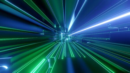 Sci-fi tunnel with neon lights. Abstract high-tech tunnel as background in the style of cyberpunk or high-tech future.