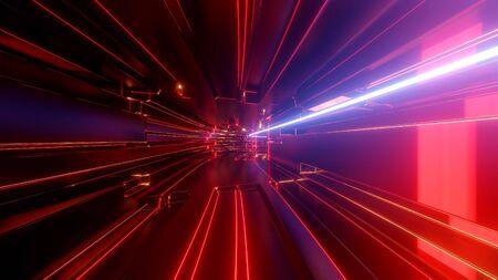 Science-Fiction-Tunnel mit Neonlicht. Abstrakter High-Tech-Tunnel als Hintergrund im Stil von Cyberpunk oder High-Tech-Zukunft. Standard-Bild