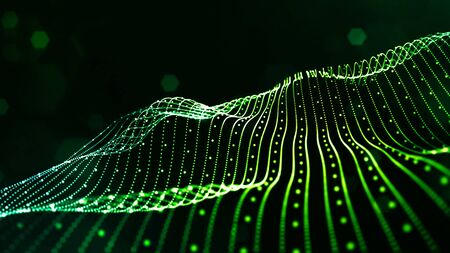 green science fiction background with bokeh and light effects. Glow particles form lines, surfaces, structures like in the microworld or cosmic space. Suitable for holiday presentations, ceremonies as amazing motion design background.