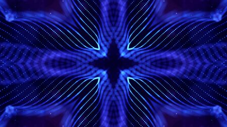 deep blue science fiction background with light effects, symmetrical pattern. Glow particles form lines, surfaces, structures like in the microworld or cosmic space. Suitable for holiday presentations, ceremonies as amazing motion design background.