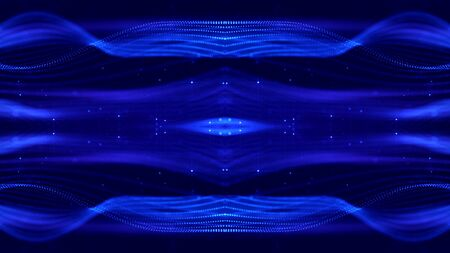 Deep blue science fiction background with bokeh and light effects. Glow particles form lines, surfaces, wave structures like in the microworld or cosmic space. Suitable for holiday presentations, ceremonies as amazing motion design background.
