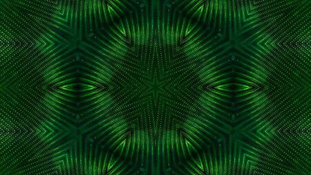 green motion design background with symmetrical star pattern. Abstract sci-fi background with glow particles form curved lines, surfaces, hologram or virtual digital space. Floral structure 37 Stock Photo