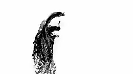 black splash like petroleum in air. 3d rendering of liquid splash in cartoon style