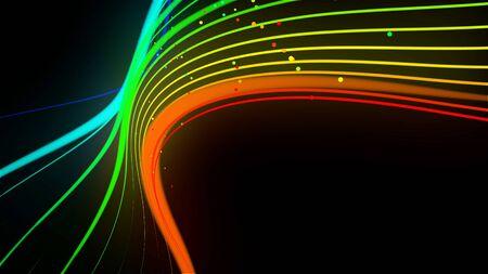 las líneas de neón del color del arco iris forman la onda. Fondo creativo abstracto 3d como cinta luminosa con partículas aisladas sobre fondo negro. Foto de archivo