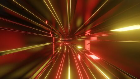 Sci-fi tunnel with neon lights. Abstract high-tech tunnel as background in the style of cyberpunk or high-tech future. Red yellow orange colors 4