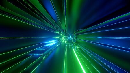 Sci-fi tunnel with neon lights. Abstract high-tech tunnel as background in the style of cyberpunk or high-tech future. Blue green colors 14