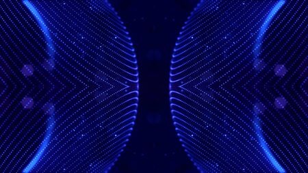 Blue motion design background with symmetrical pattern. Abstract sci-fi background with glow particles form curved lines, strings, surfaces, hologram or virtual digital space. Mirror structure 30