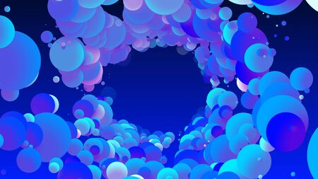 Abstract simple background with beautiful multi-colored circles or balls in flat style like paint bubbles in water. 3d render of particles, droplets of paint. Round structure with copy space. 11