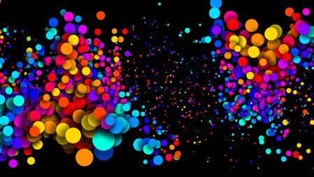 Abstract simple background with beautiful multi-colored circles or balls in flat style like paint bubbles in water. 3d render of particles, colored paper applique. Creative design background 11