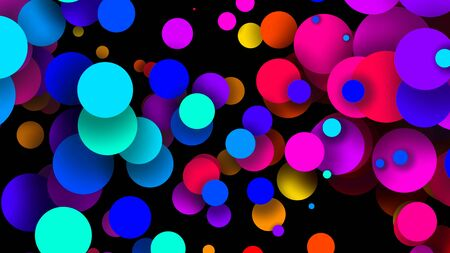 Abstract simple background with beautiful multi-colored circles or balls in flat style like paint bubbles in water. 3d render of particles, colored paper applique. Creative design background 16 Zdjęcie Seryjne