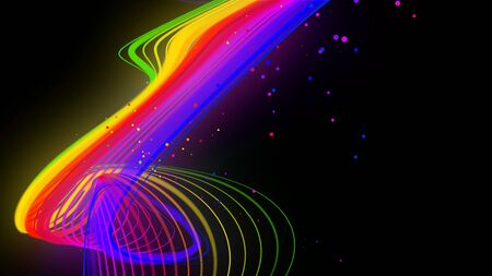 rainbow color neon curved lines form ribbon. 3d abstract creative background like glow ribbon with particles isolated on black background.