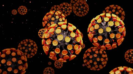 close-up coronavirus type covid-19, h1n1, bird flu or swine flu background. 3d rendering of representation of virus as microbiological microscopic background. Black orange yellow gradient
