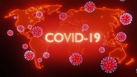 map of earth is highlighted in glow red, particles of coronavirus fly over it. Concept of the coronavirus pandemic covid-19, global problem for all of humanity, earth quarantine. 3d rendering