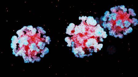 close-up coronavirus type covid-19, h1n1, bird flu or swine flu background. 3d rendering of representation of virus as microbiological microscopic background. Blue red gradient colors