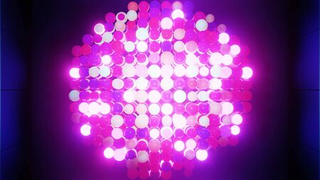 Abstract composition of colorful balls in plane, which randomly light up and reflect in each other. Multicolored spheres like leds as simple geometric dark background with light effects. Flashes of light as a festive background