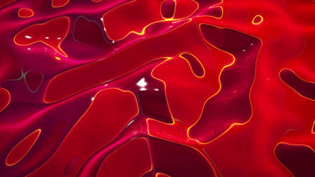 3d rendering abstract fluid background. Beautiful wavy glass surface of red liquid with pattern, gradient color and flow waves on it. 版權商用圖片