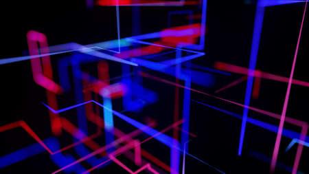 3d rendering like abstract hologram. Multi color neon glow lines form digital 3d space. Zdjęcie Seryjne