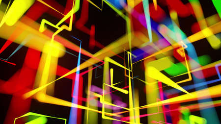 3d rendering like abstract hologram. Multi color neon glow lines form digital 3d space. Stockfoto - 154354006