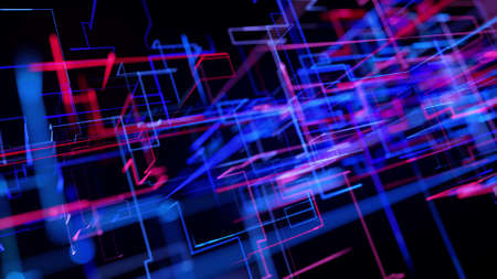 3d rendering like abstract hologram. Multi color neon glow lines form digital 3d space. Stockfoto - 154354010