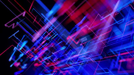 3d rendering like abstract hologram. Multi color neon glow lines form digital 3d space. Stockfoto - 154354012