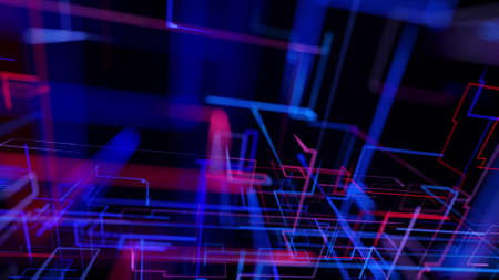 3d rendering like abstract hologram. Multi color neon glow lines form digital 3d space. Stockfoto - 154354020