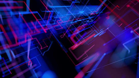 3d rendering like abstract hologram. Multi color neon glow lines form digital 3d space. Stockfoto - 154354094