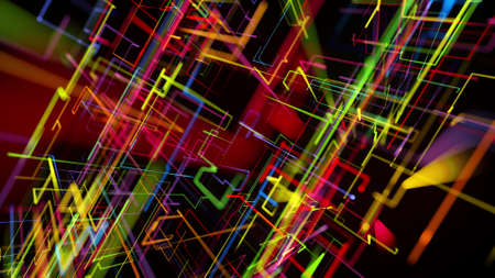 3d rendering like abstract hologram. Multi color neon glow lines form digital 3d space. Stockfoto - 154354096