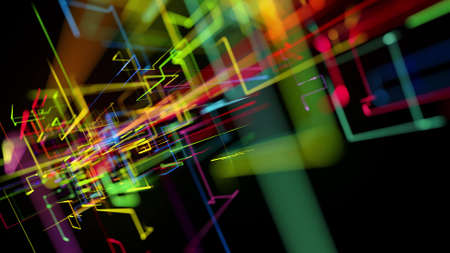 3d rendering like abstract hologram. Multi color neon glow lines form digital 3d space. Stockfoto - 154354081