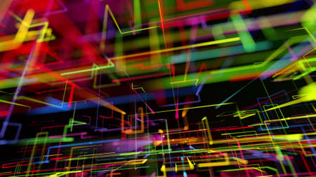3d rendering like abstract hologram. Multi color neon glow lines form digital 3d space. Stockfoto - 154354146