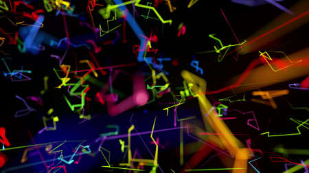 3d rendering like abstract hologram. Multi color neon glow lines form digital 3d space. Stockfoto - 154354151