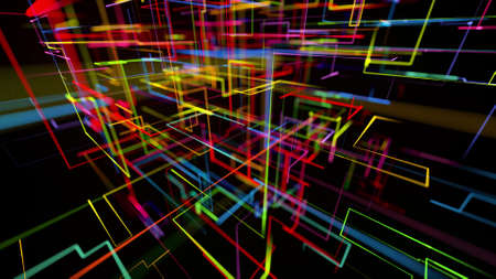 3d rendering like abstract hologram. Multi color neon glow lines form digital 3d space. Stockfoto - 154354150