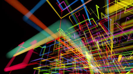 3d rendering like abstract hologram. Multi color neon glow lines form digital 3d space.