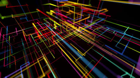 3d rendering like abstract hologram. Multi color neon glow lines form digital 3d space. Stockfoto - 154354156